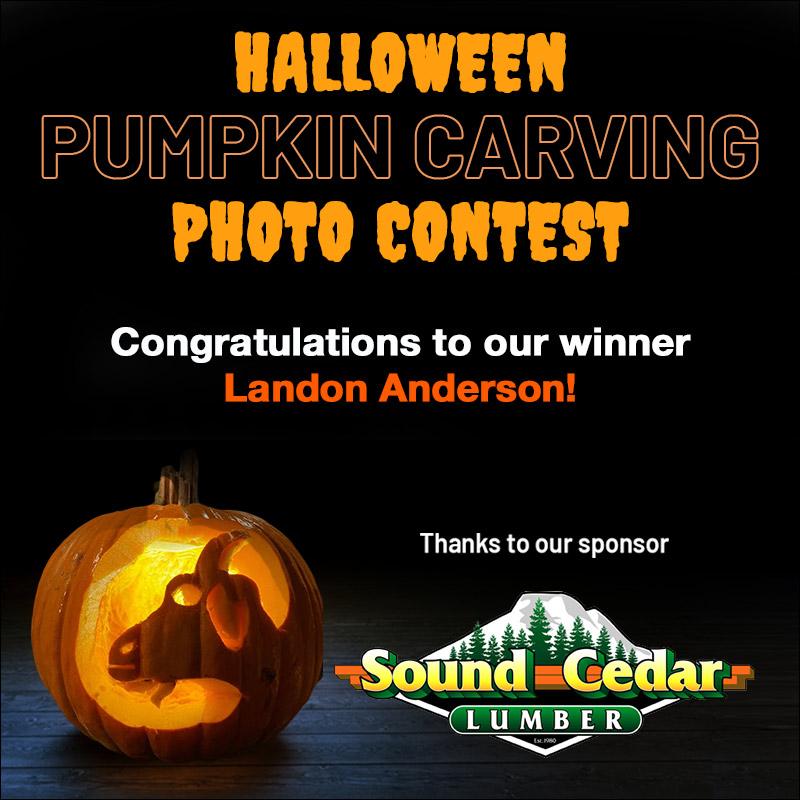 Halloween Pumpkin Carving Contest Winner Landon Anderson Sponsored By Sound Cedar Lumber